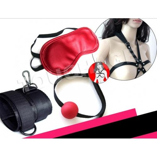 БДСМ набор: кляп, наручники, маска, нагрудники