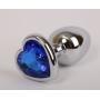 """Анальная пробка """"Heart"""" silver, 8.5 см"""